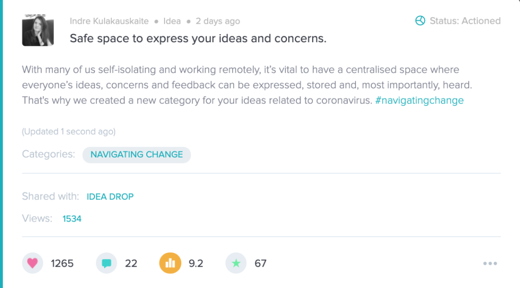navigating change idea card category