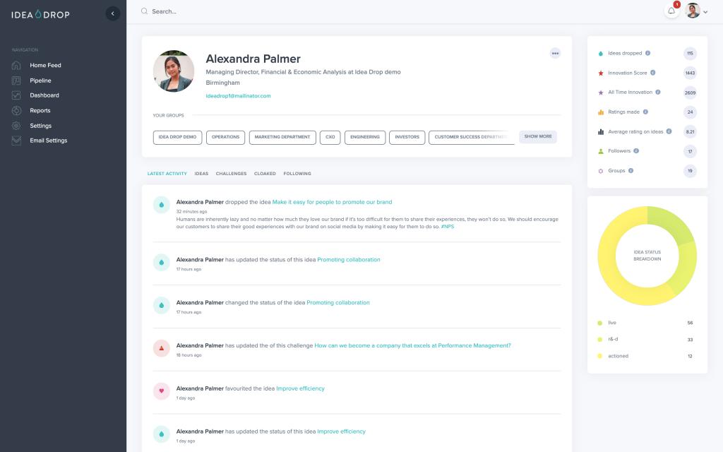 Innovation Platform Profile Page