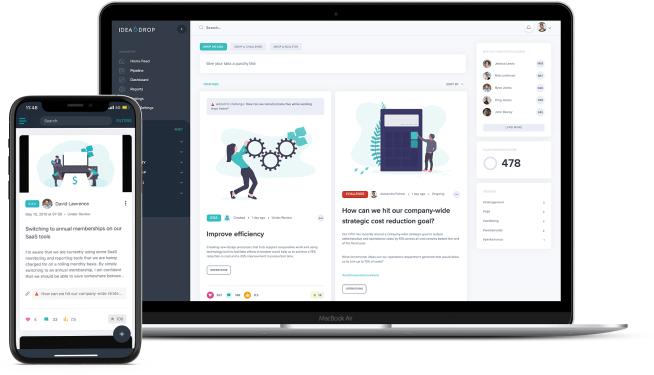 Idea Drop Platform on desktop and mobile